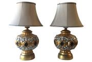 Large Gilt Lamps, Pair