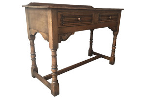 19th-C. Hand-Carved Hall Table