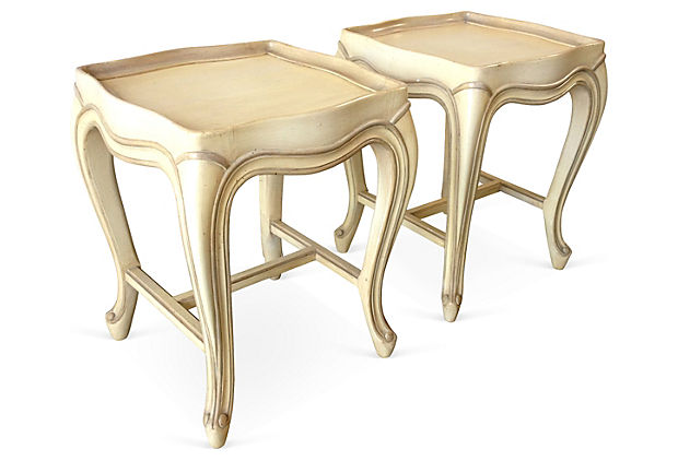 Baker French Provincial Tea Tables Pair Modern Vintage Mix