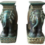 Lee and Roy Garden Stools, Pair