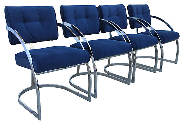 Milo Baughman Style Dining Chairs Set Of 4 Modern