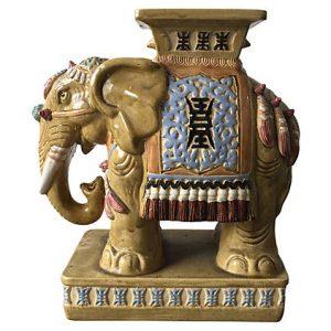 Ceramic Elephant Garden Stool