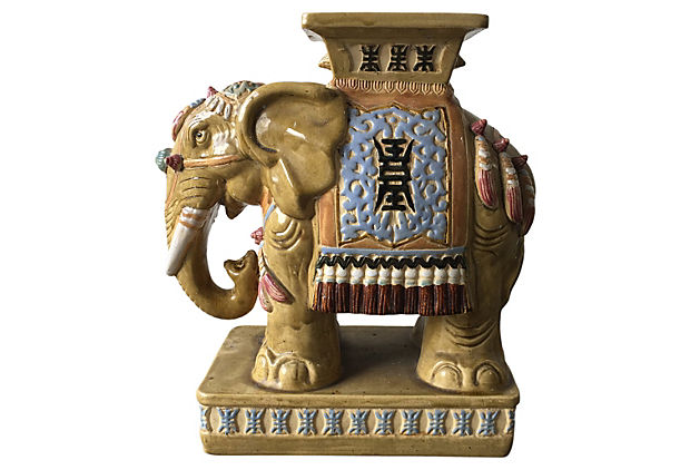 Ceramic Elephant Garden Stool Modern Vintage Mix