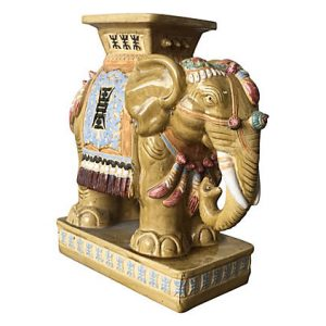 Ceramic Elephant Garden Stool