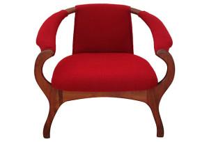 Asian Inspired Walnut Armchair