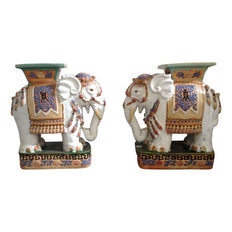 Henry And Mac Ceramic Elephant Garden Stools Modern