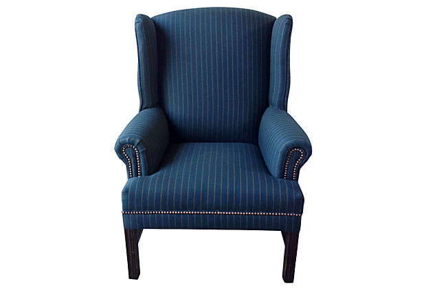 Flynn Flannel Pinstripe Wingback Chair