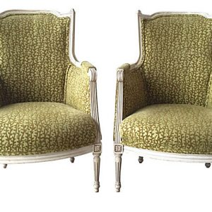 Antique French Bergères, Pair