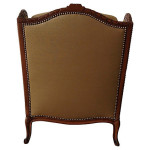 Gold-Toned Linen Bergère Chair