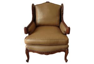 Gold-Toned Linen Bergère Chair