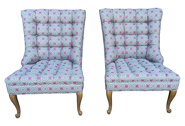 Darby And Vivienne Slipper Chairs, Pair