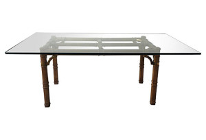 Heritage Campaign Style Glass Table