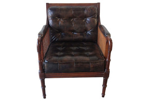 Elliot Leather and Cane Library Chair