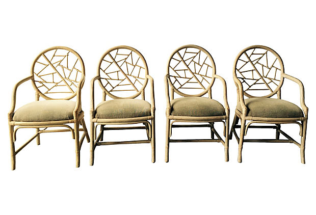 Exceptionnel McGuire Rattan Dining Chairs, S/4