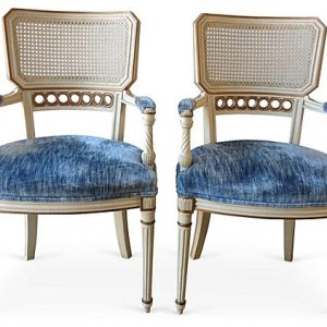 Martha and Lou Neoclassical French Armchairs, Pair