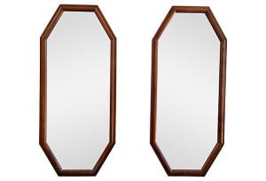 Octagonal Walnut Mirrors, Pair