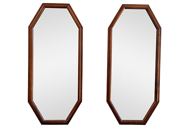 Octagonal Walnut Mirrors, Pair
