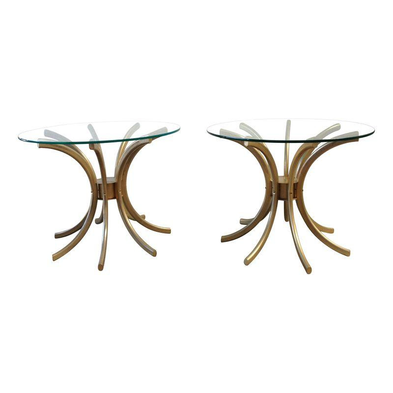 Gold Tulip Side Tables, Pair