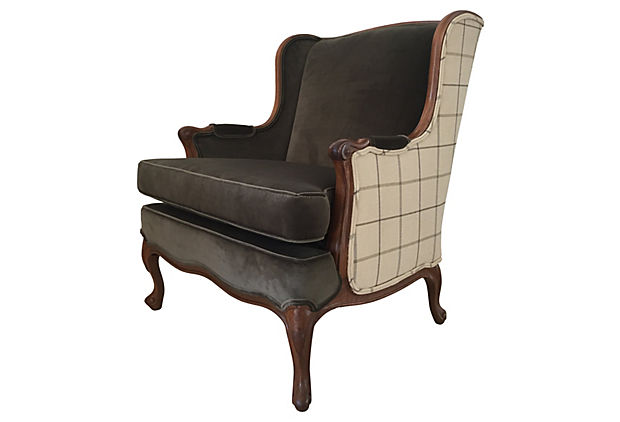 Velvet and Plaid Library Wingback