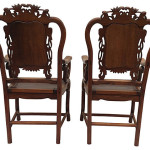 19th-C. Chinese Carved Chairs, Pair