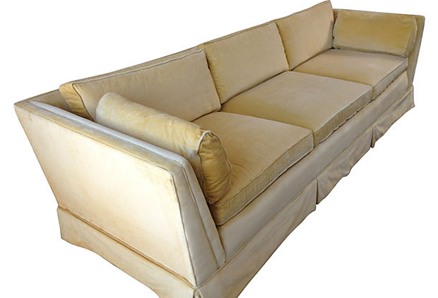 Yellow Velvet Sofa by Century