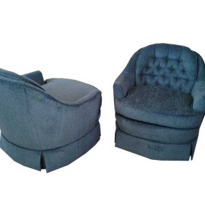 Retro Blue Swivel Chairs (Pair)