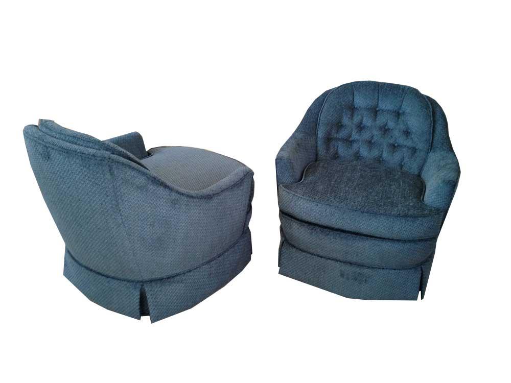 Retro Blue Swivel Chairs Pair Modern Vintage Mix