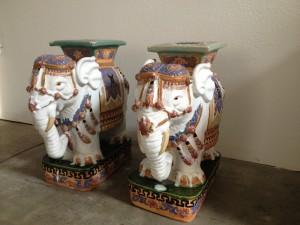 Henry and Mac Ceramic Elephant Garden Stools