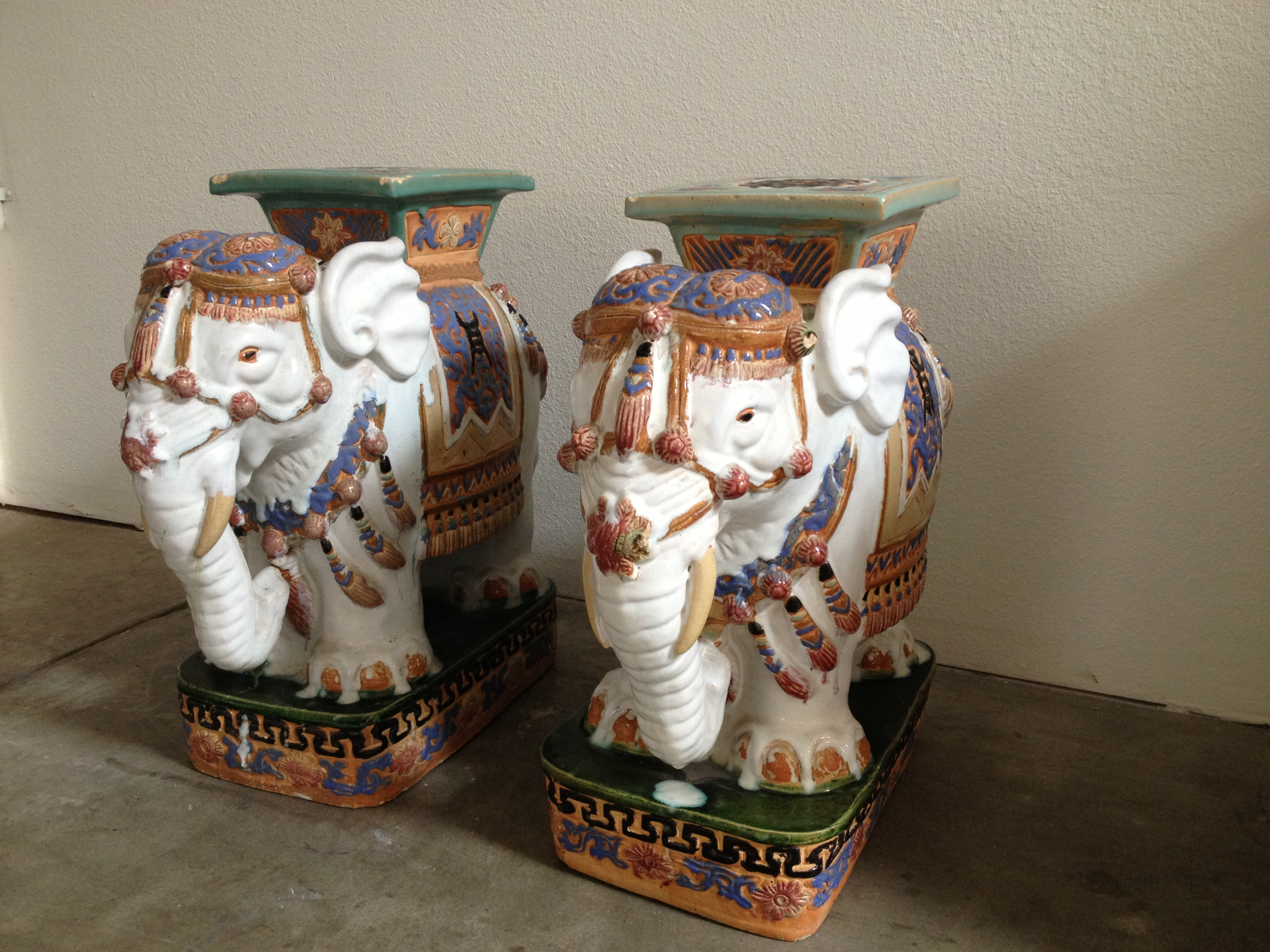 Henry and Mac Ceramic Elephant Garden Stools Modern Vintage Mix