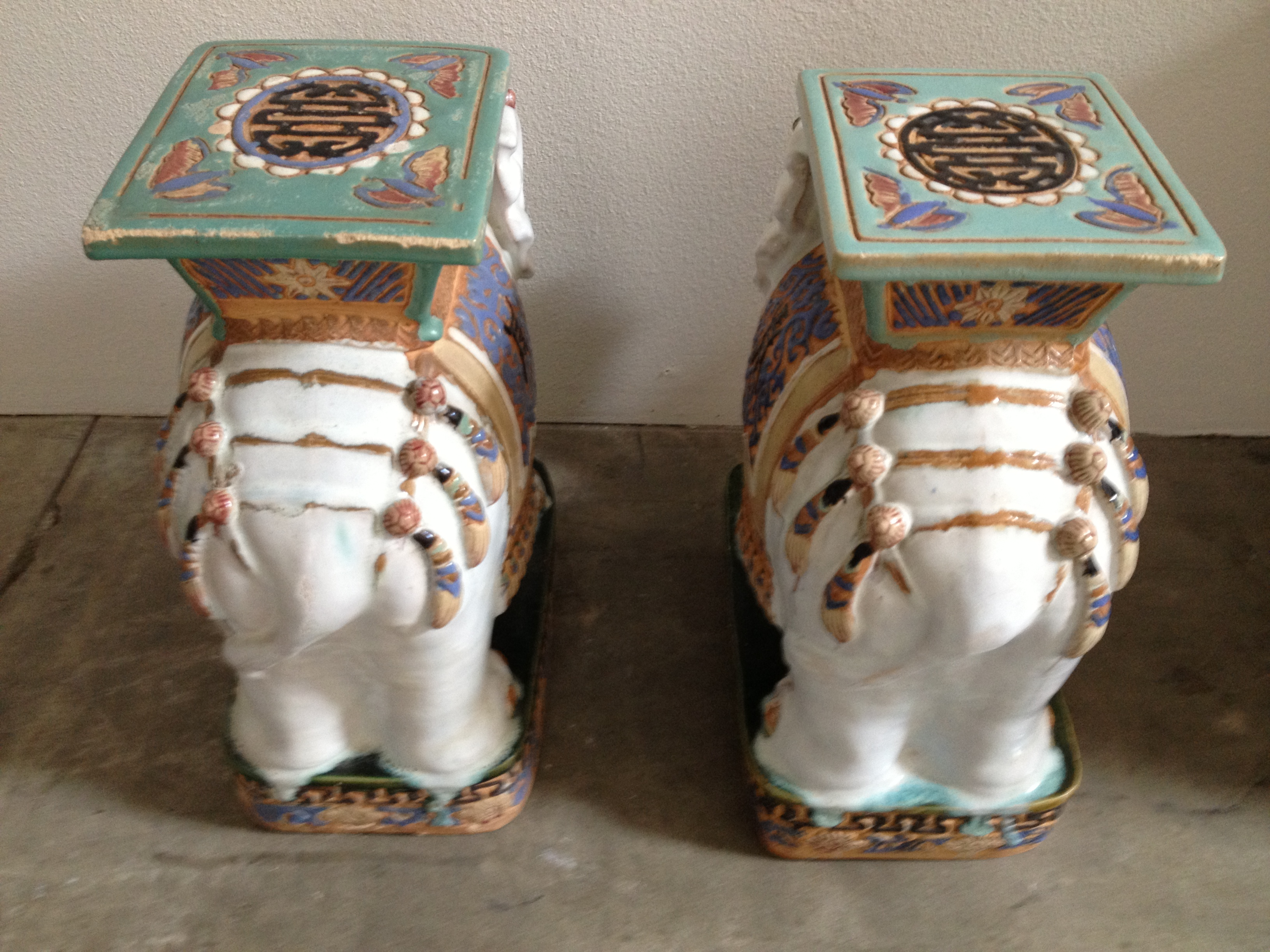 Henry and Mac Ceramic Elephant Garden Stools - Modern Vintage Mix